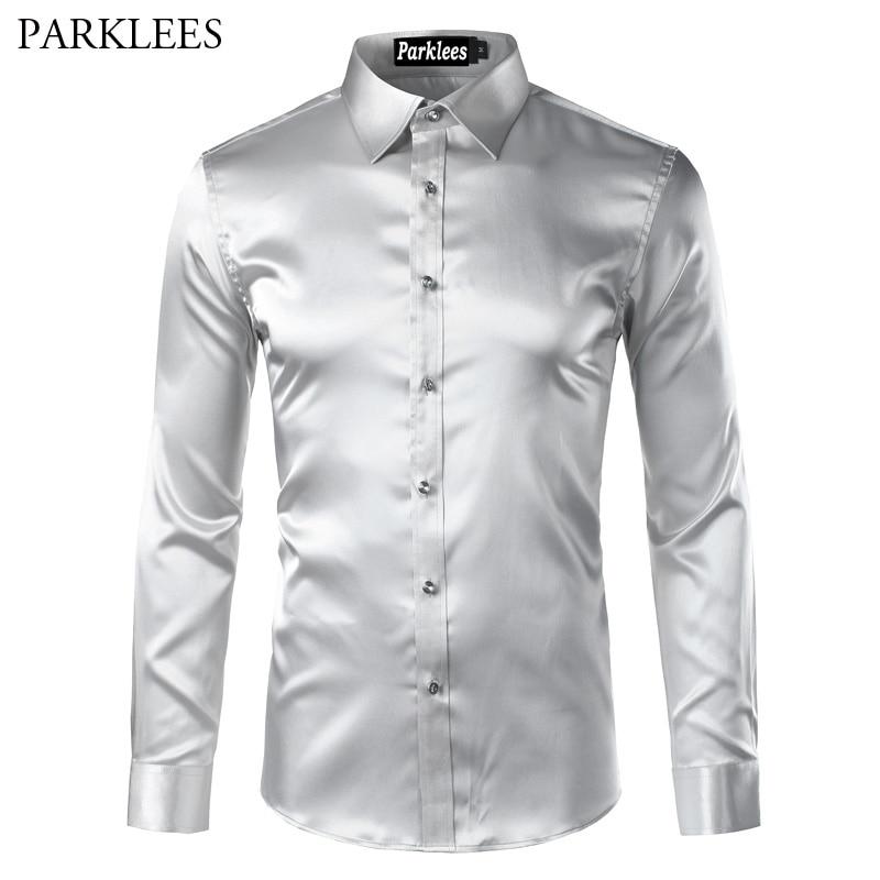Silk Satin Shirt Men Chemise Homme 2017 Fashion Casual Button Down Mens Dress Shirts Emulation Silk Men's Social Shirt Camisas
