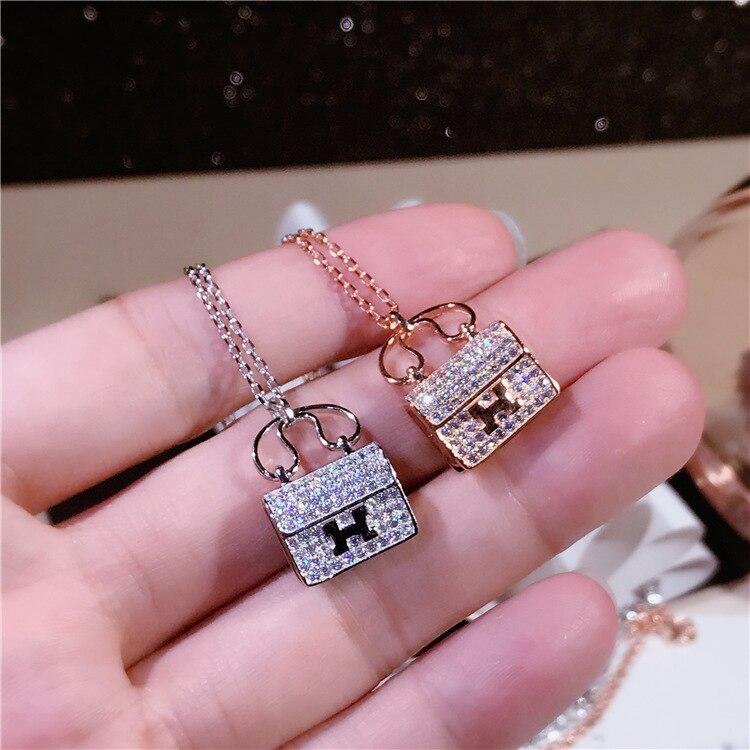2019 Trendy Designer Sparkling Zircon Decorative Handbag Pendant Pure 925 Sterling Silver Women Necklace Classic Bijoux