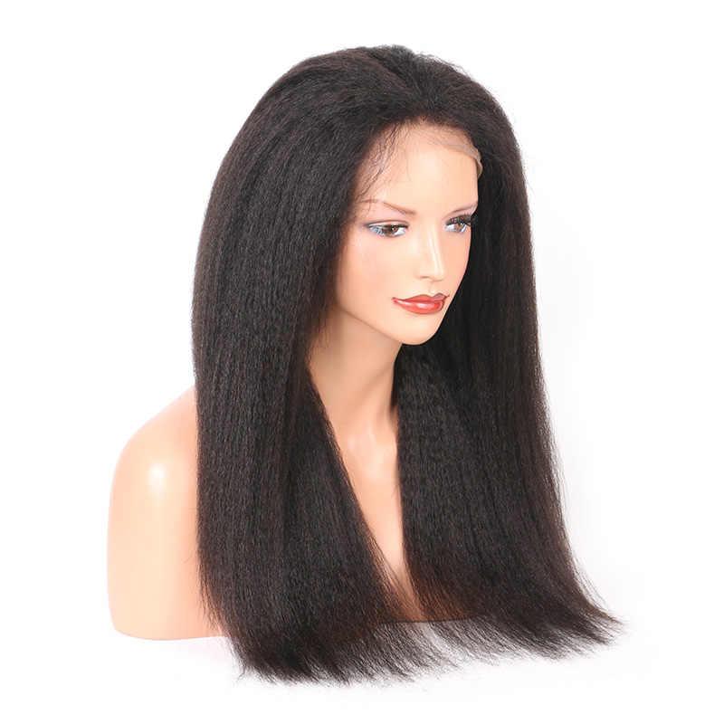 Монгольский Странный прямой парик Glueless Синтетические волосы на кружеве натуральные волосы парики с волосами младенца Волосы remy итальянский яки 13x4 парик 130% мечта волос