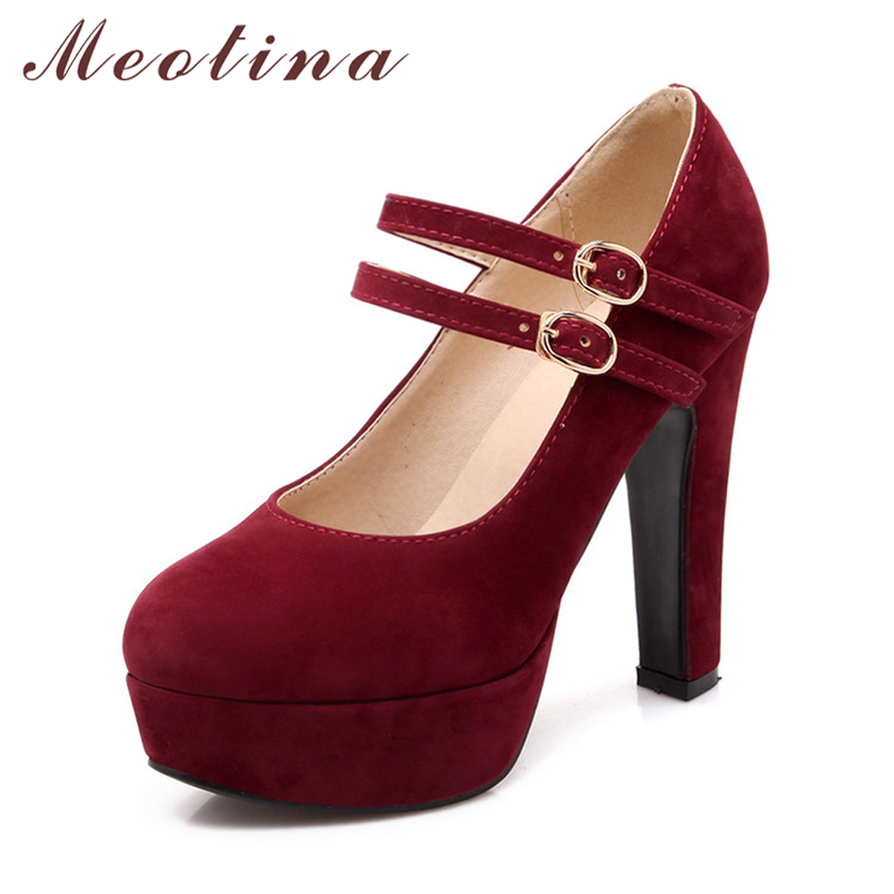 Meotina Skor Kvinnor Mary Janes High Heels Platform Pumps Stor Storlek 33 45 46 Sexy Party Buckle Strap Ladies Shoes Höst Kvinna