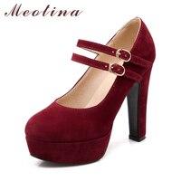 Venta Meotina zapatos de mujer Mary Janes tacones altos zapatos de plataforma de gran tamaño 33 45 46 46 Sexy fiesta hebilla Correa Mujer Zapatos otoño Mujer