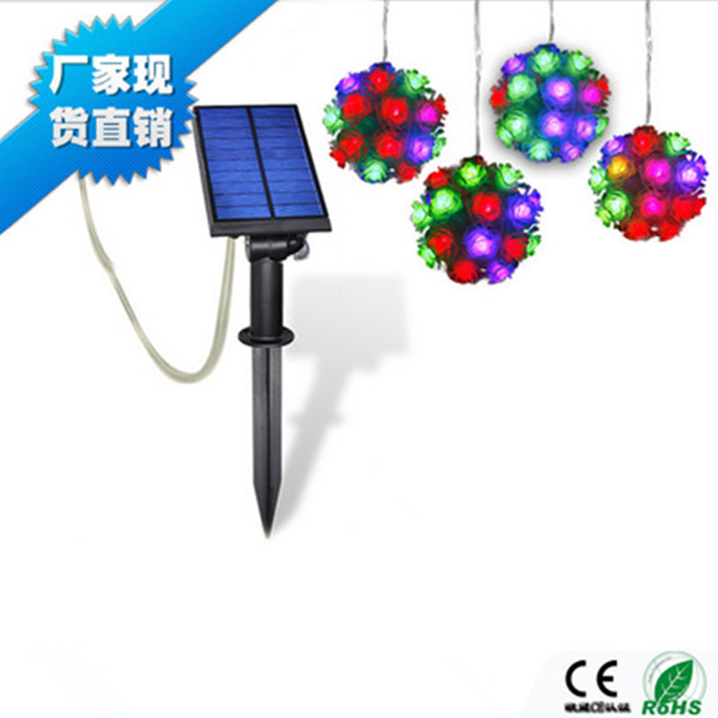 ФОТО 100LM LED RGB Solar Rose Ball Light Outdoor Decorative Colorful Style for Home Garden Landscape Holiday Lamps ABS + PP