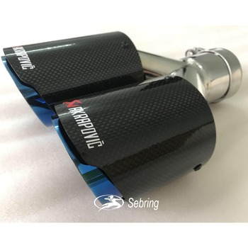 Blue Tip Exhaust | 1 PC Car Modification AKRAPOVIC  Universal Dual Blue Automobile Exhaust Pipe Muffler Tip  For BMW 3 Series