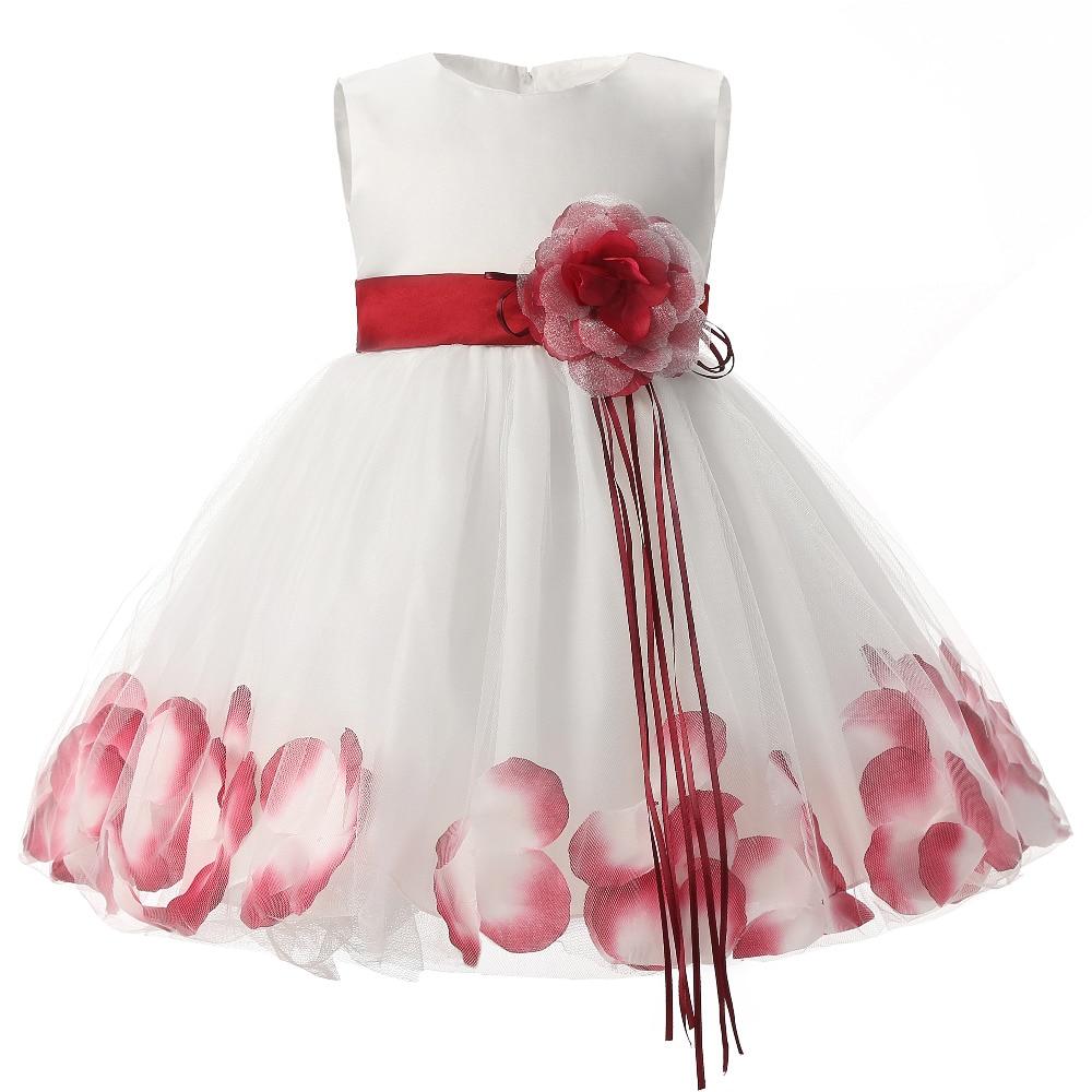 Flower baby girl dress wedding for kids 1 year birthday for Baby wedding dresses newborn