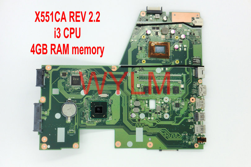 free shipping X551CA With i3 CPU 4GB RAM mainboard REV 2.2 For ASUS X551C X551CAP X551CA motherboard MAIN BOARD 100% Tested free shipping original x451m x451ma motherboard mainboard main board rev 2 1 60nb0490 mb2100 100