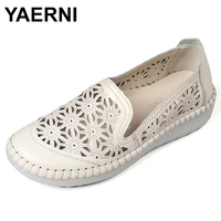 YAERNI Summer Woman Genuine Leather Loafers Slip On Female Flats Moccasins Ladies Driving Shoe Cut Outs Women Shoe Footwear