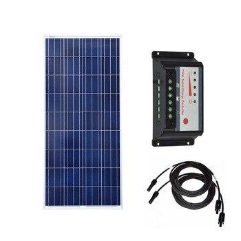 Солнечный модуль 12В 150 Вт портативное зарядное устройство контроллер заряда 12В/24В 30А для дома на колесах Pv кабель Лодка Караван автомобиль к...