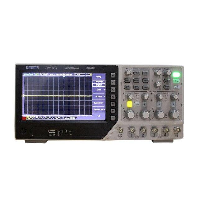 جهاز رسم الذبذبات الرقمي من Hantek طراز DSO4104C مكون من 4 قنوات 100 ميجاهرتز ومزود بجهاز رسم الذبذبات بشاشة 7 بوصة وشاشة Lcd مع منفذ USB