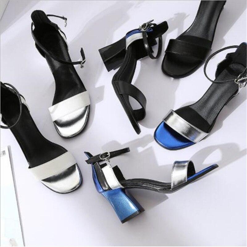 Женские сандалии на высоком каблуке, черные сандалии с пряжкой на полой подошве, обувь с острым носком на весну 2019