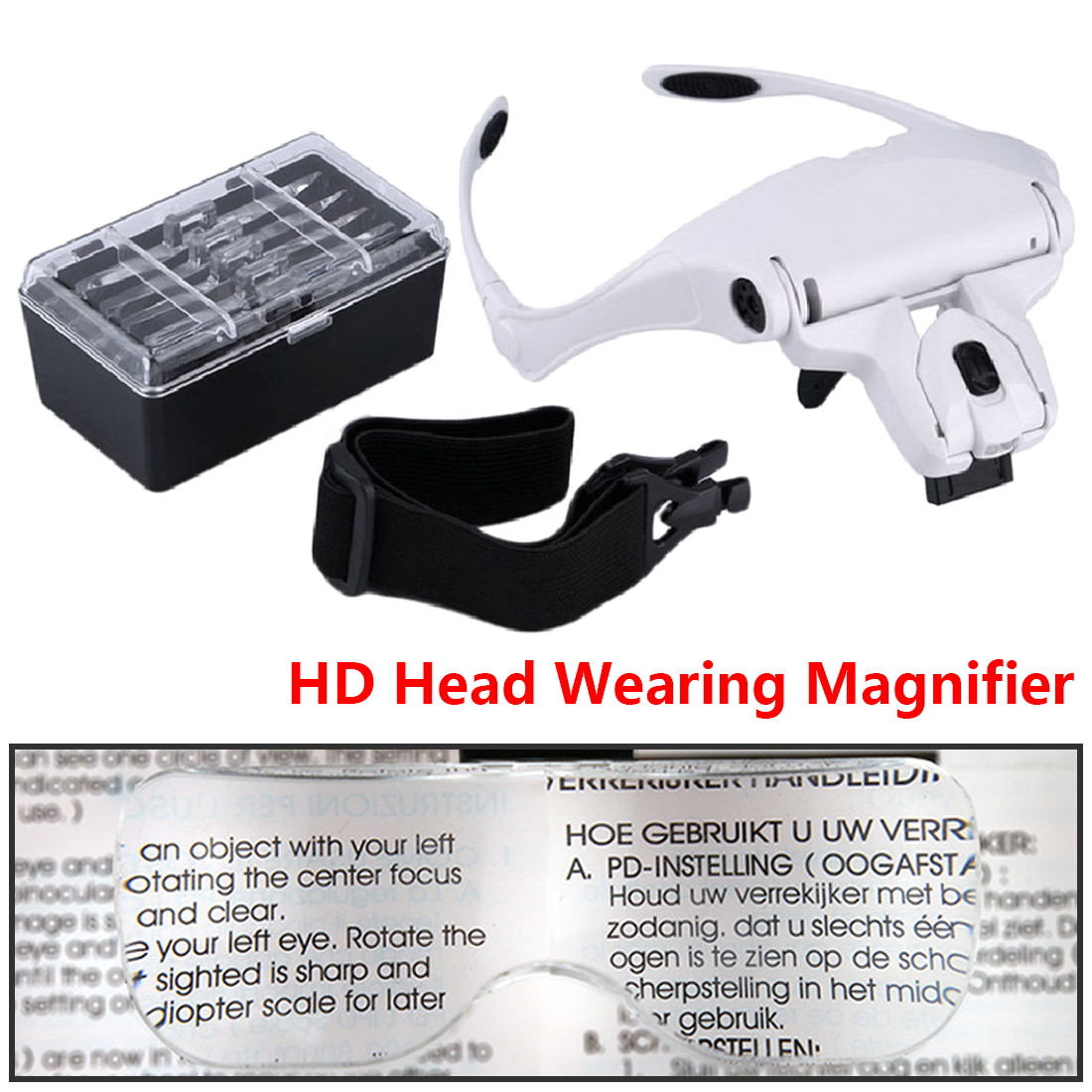 Magnifying Glasses Creative Adjustable Loupe 1.0X 1.5X 2.0X 2.5X 3.5X 5 Lens Headband Magnifying Glass Magnifier with LED