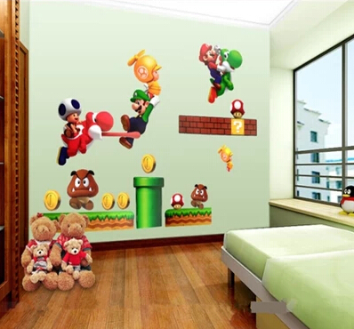 Free Shipping Super Mario Wall Sticker Kids Bedroom DIY ...