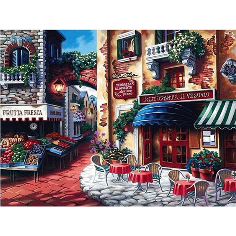 DIY Digital Painting By Numbers small town oil painting mural Kits Coloring Wall Art Picture Gift frameless image