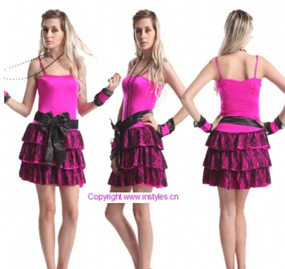 Free shipping zy252 Adult 50s Sock Hop Rose Poodle Skirt Costume Halloween costume size s-2xl