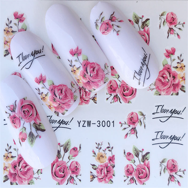 YZWLE Water-Transfer-Stickers Nail-Tips Flower-Series Full-Wraps Deer/lavender DIY