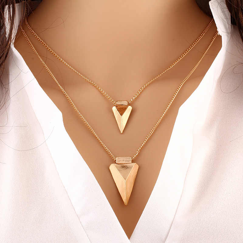 Sharp Arrow Multi Layer Necklace Gold Color Long Chain Multilayer Pendant Necklaces for Women, Collar Neckless Woman Halskette