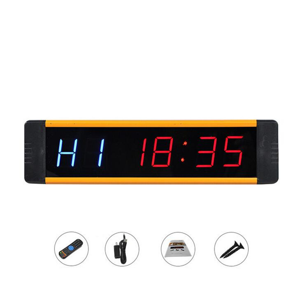 LED Display Electronic Clock Stopwatch Interval Timer Wall Clock with Remote Controller for Gym Fitness Training