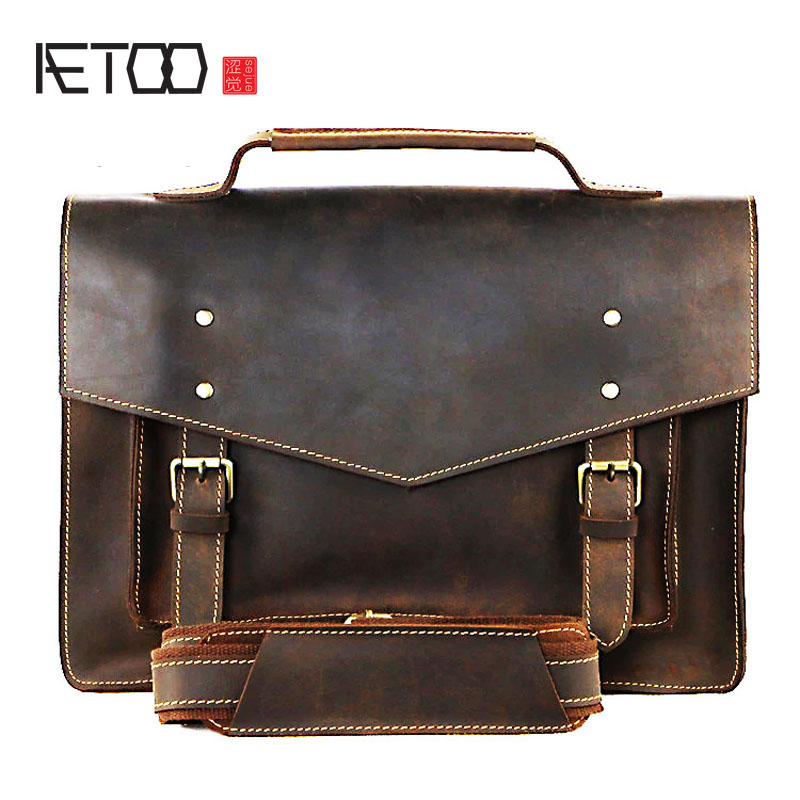 AETOO Europe and the United States retro handmade men briefcase crazy horse skin business handbag shoulder bag aetoo europe and the united states fashion new men s leather briefcase casual business mad horse leather handbags shoulder