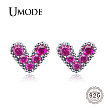 UMODE 2019 New 925 Silver White Heart Stud Earrings for Women Gold Purple Red Zircons Jewelry Boucle Doreille ALE0617