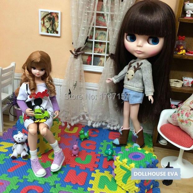 1 Satz Nette 1:6 1:12 Puppenhaus Miniatur Eva Boden Matte Kinder Schlafzimmer Puppe Haus Möbel Zubehör Für Bjd Barbies Puppe