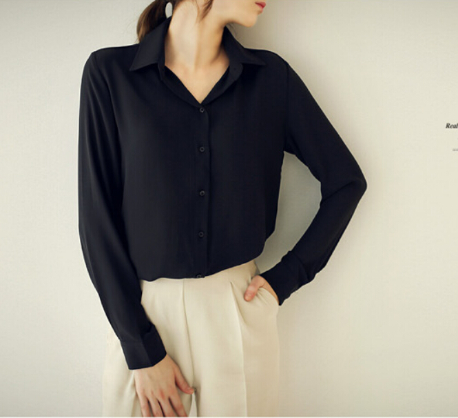 Women Blouses Direct Selling Button Solid 2019 Autumn New Long sleeve Shirt Female Chiffon Women s