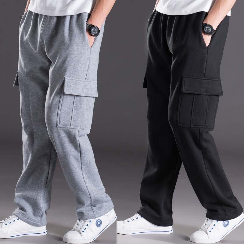 Pantalon de survêtement Hommes Fashions Piste Pantalon Chaud D'hiver Joggeurs Pantalon Hip Hop Harem Lâche Baggy Pantalon Polaire Streetwear Hommes Vêtements