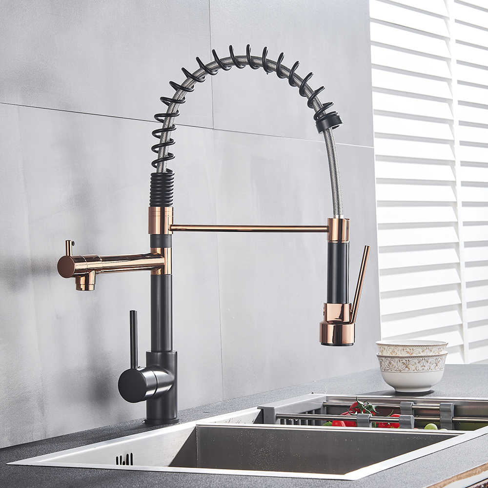Rose Gold Black Style Kitchen Spring Faucet Pull Down Dual Spouts Single Handle Water Mixer Tap 360 Rotation Kitchen Mixer Tap Kitchen Faucets Aliexpress