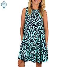 Ameision Women Pocket Mini Beach Dresses Plus Size O-neck 2019 Summer Sleeveless pullover element Printed Dress Casual Sundress недорого