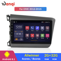 2G RAM 32G ROM 9 inch Android 8.1 touch screen car audio dvd player for Honda Civic 2012 2015 GPS navigation