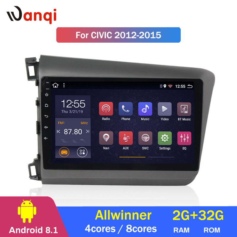 2G RAM 32G ROM 9 inch Android 8.1 touch screen car audio dvd player for Honda Civic 2012-2015 GPS navigation2G RAM 32G ROM 9 inch Android 8.1 touch screen car audio dvd player for Honda Civic 2012-2015 GPS navigation