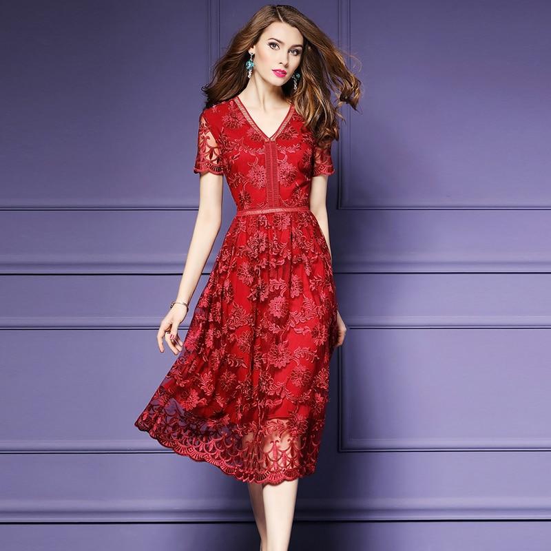 Us 5116 25 Off2018 Summer Women Elegant Red Lace Print Dress Female Short Sleeve V Neck Mid Calf Long Dresses Office Lady Party Dress In Dresses
