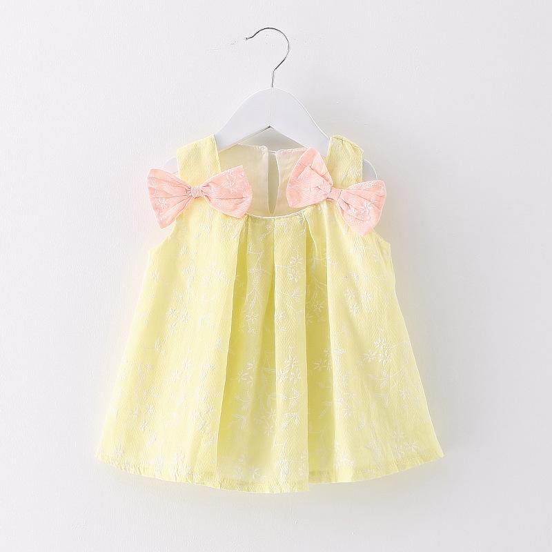 HTB1CsdikTlYBeNjSszcq6zwhFXaX - 2018 New Brand Princess Dress Sleeveless Cotton Kids Dresses For Girls Bow Children Toddler Girl Dresses
