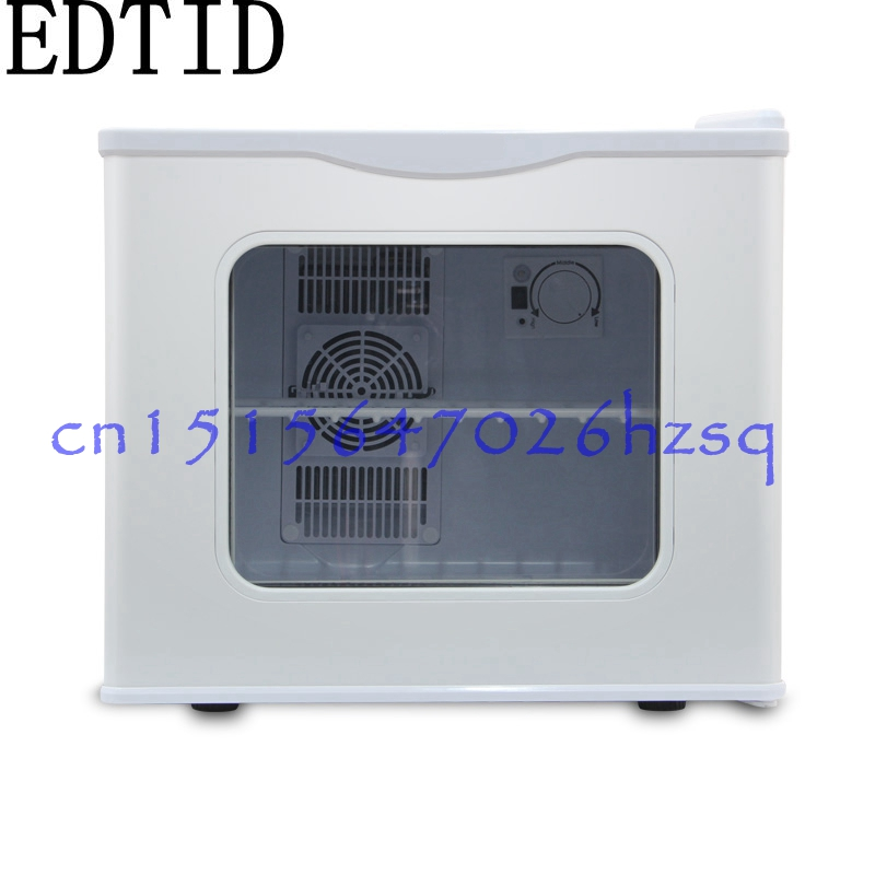 EDTID 17L Mini Electric Refrigerator 220V Household 60W Cooler box Tempered Glass door Keep fresh for dormitory