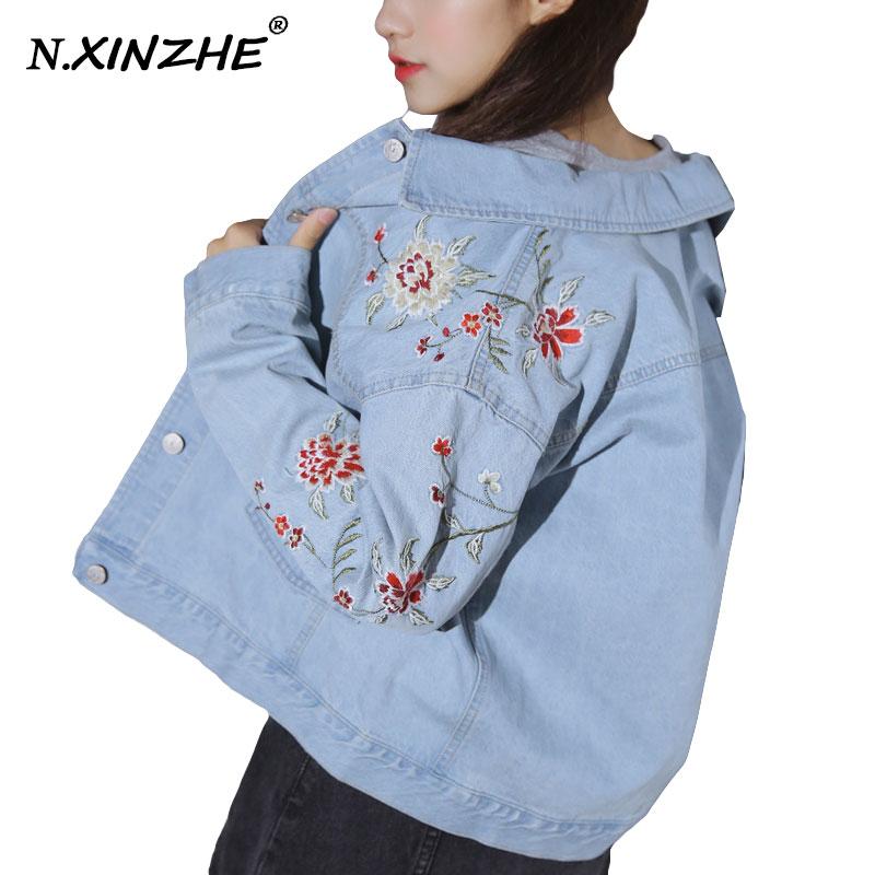 N. XINZHE Flores Bordado abrigo de mujer chaqueta de mezclilla ocasional de la v