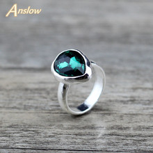 Anslow Fashion Jewelry New Design Water Drop Crystal Women Wedding Engagement Ring Spain France Italy Style LOW0004AR