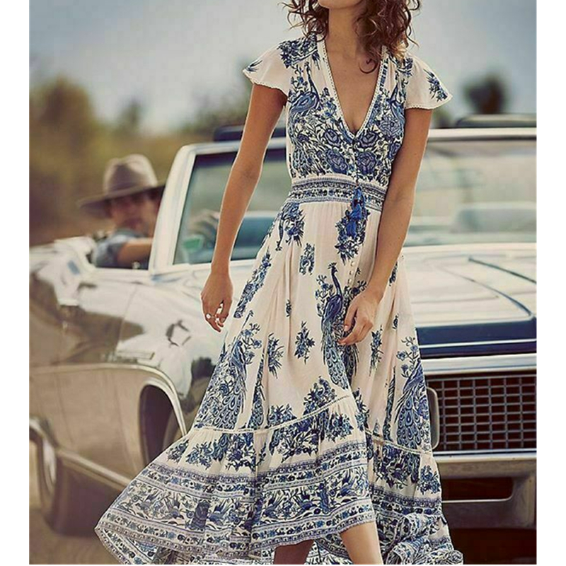 Women's Summer Boho Casual Long Beach Dress Fashion Ladies Casual Print V-neck Short Sleeve Mid-Calf Loose Sundress