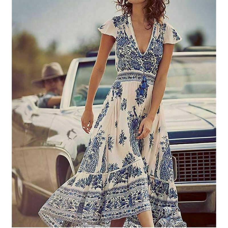 נשים של קיץ Boho מקרית ארוך חוף שמלת אופנה גבירותיי מקרית הדפסת V-צוואר קצר שרוול אמצע עגל רופף שמלה קיצית