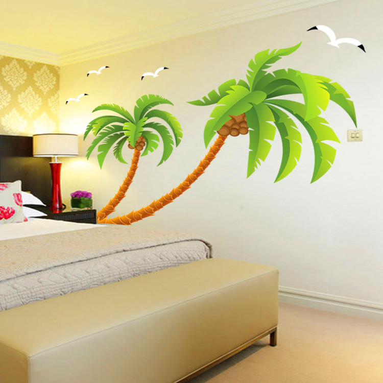 Green Coconut Tree Gulls Vinyl Wall Stickers Home Decor Rooms