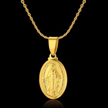 Charm Europe Style Gold Color Virgin Mary Pendant Necklaces For Women/Men Chunky Chain Jewelry Accessories, Ethnic Necklace