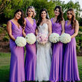 2017 Nice Pleated Chiffon Bridesmaids Dresses Purple Lavender Party Dress Sexy V Neck Floor Length Vestido Festa Adulto