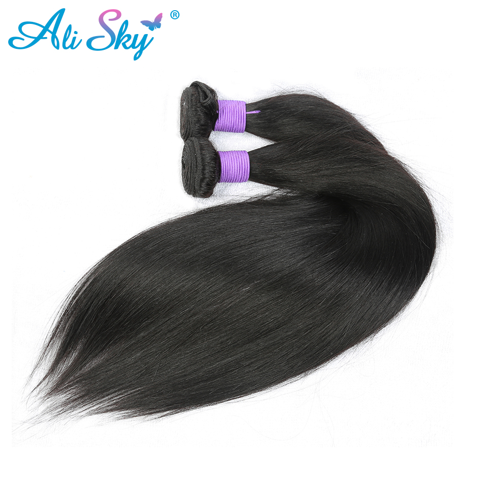 Ali Sky 1/3/4 bundles Straight Peruvian Human Hair Weave Bundles 100% 8-30 Inch Non-Remy Hair can be curled free&fast shipping