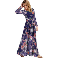 Autumn Fashion Women S Owl Print Long Sleeve Expansion Bottom One Piece Dress Plus Size Chiffon