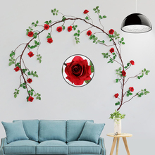 Xuanxiaotong 300cm Long Red Rose Artificial Flowers Vine for Wedding party Background Wall Decoration Hanging Garland Plant