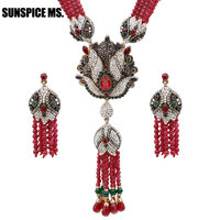 Sunspice ms. Natural Stone Tassel Anime Necklace Crystal Flower Drop Women Vintage Jewelry Antique Gold Luxury Sweater Pendant