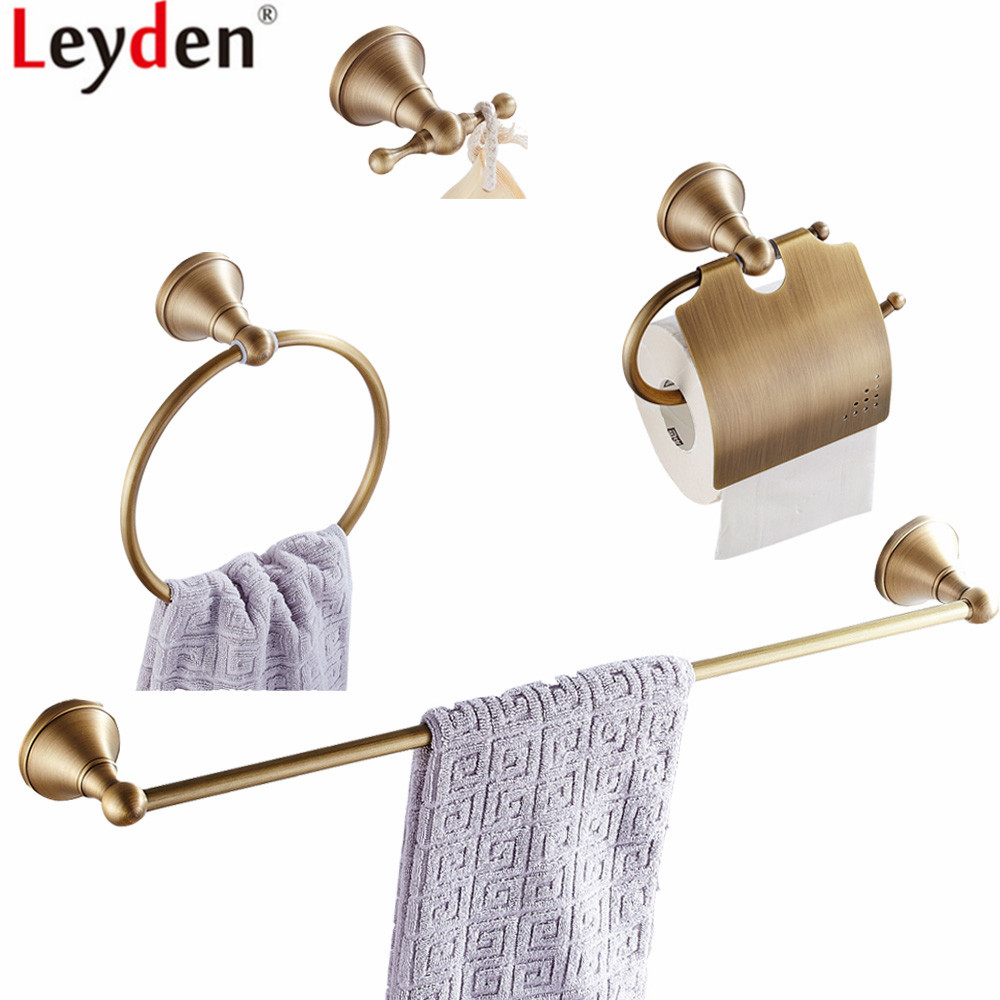 Leyden Antique Brass 4pcs Bathroom Accessories Set Wall Mounted Single Towel Bar Towel Ring Holder Toilet Paper Holder Robe Hook towel ring black towel holder towel bar bathroom accessories set paper holder luxury toilet brush holder robe hook soap dish