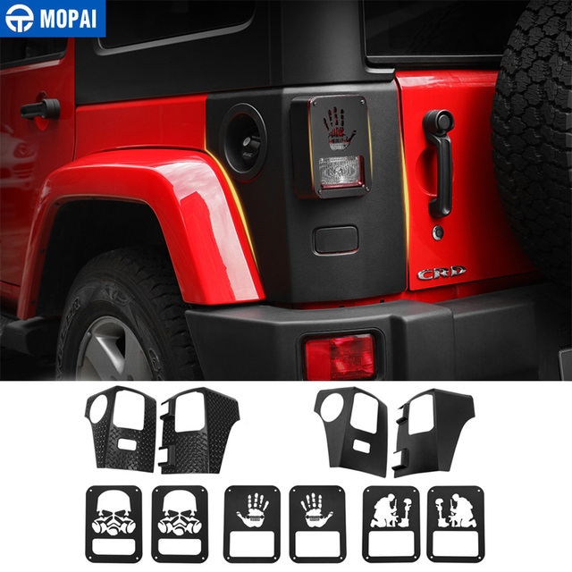MOPAI Car Lamp Hoods for Jeep Wrangler JK 2007 Rear Tail light Cover Lamp Guards Sticker for Jeep JK Wrangler Accessories