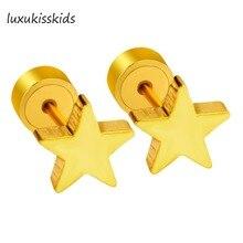 LUXUKISSKIDS Gold Stud Star Earrings Stainless Steel Punk Rock Kids Earring Gift