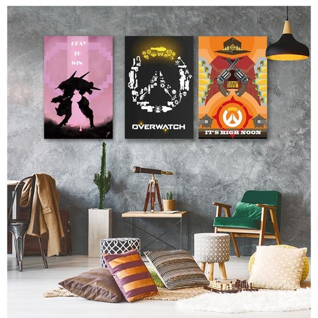 NUOMEGE Overwatchs Game Artwork Silk Canvas Art Poster Paintings Print Wall Pictures For Living Room Home Decoration Unframe 2