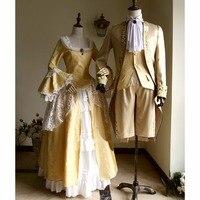 Косплэй индивидуальный заказ викторианской элегантный готический аристократ 18th века Для мужчин и Для женщин взрослых свадебные Косплэй ко