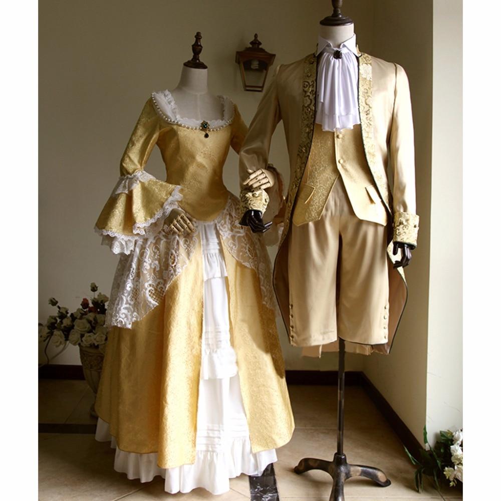 Cosplay Custom Made Victorian Elegant Gothic Aristocrat 18th Century Men & Women Adult Wedding Cosplay Costume