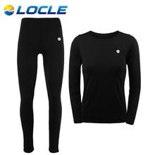LOCLE Women Winter Thermal Underwear Men Women Warm Long Johns Women Ski Jacket and Pants For Ski/Hiking/Snowboard/Cycling